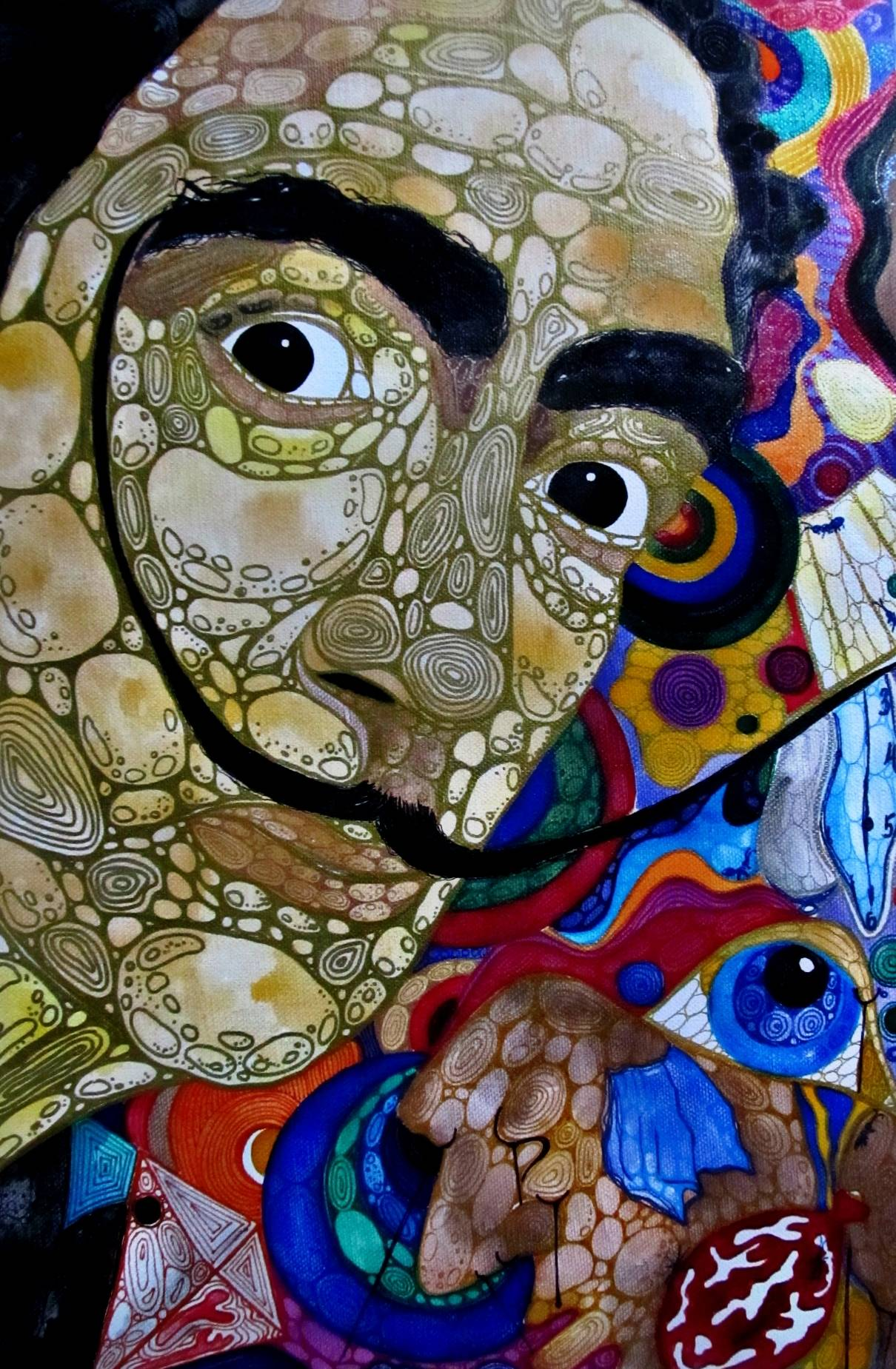 """Картина """"Сальвадор Дали"""". Материалы: холст, акварель, контуры. Размер: 40 х 30 см"""