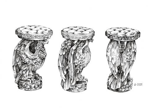 Шахматные фигурки - Король и Конь, эскизы шахматного столика и табуреток  к нему.