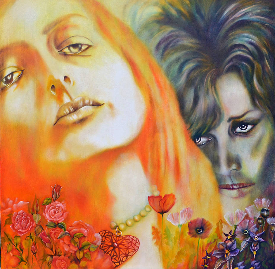 Erato and Medea, oil on wood, 48 inches by 48 inches