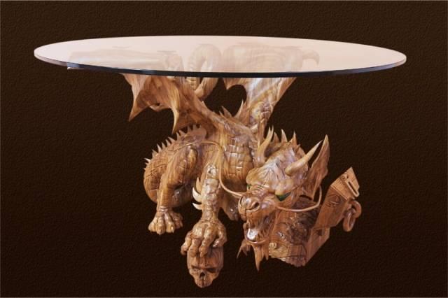 Стол кофейный(Дракон).Акация высота 0,65