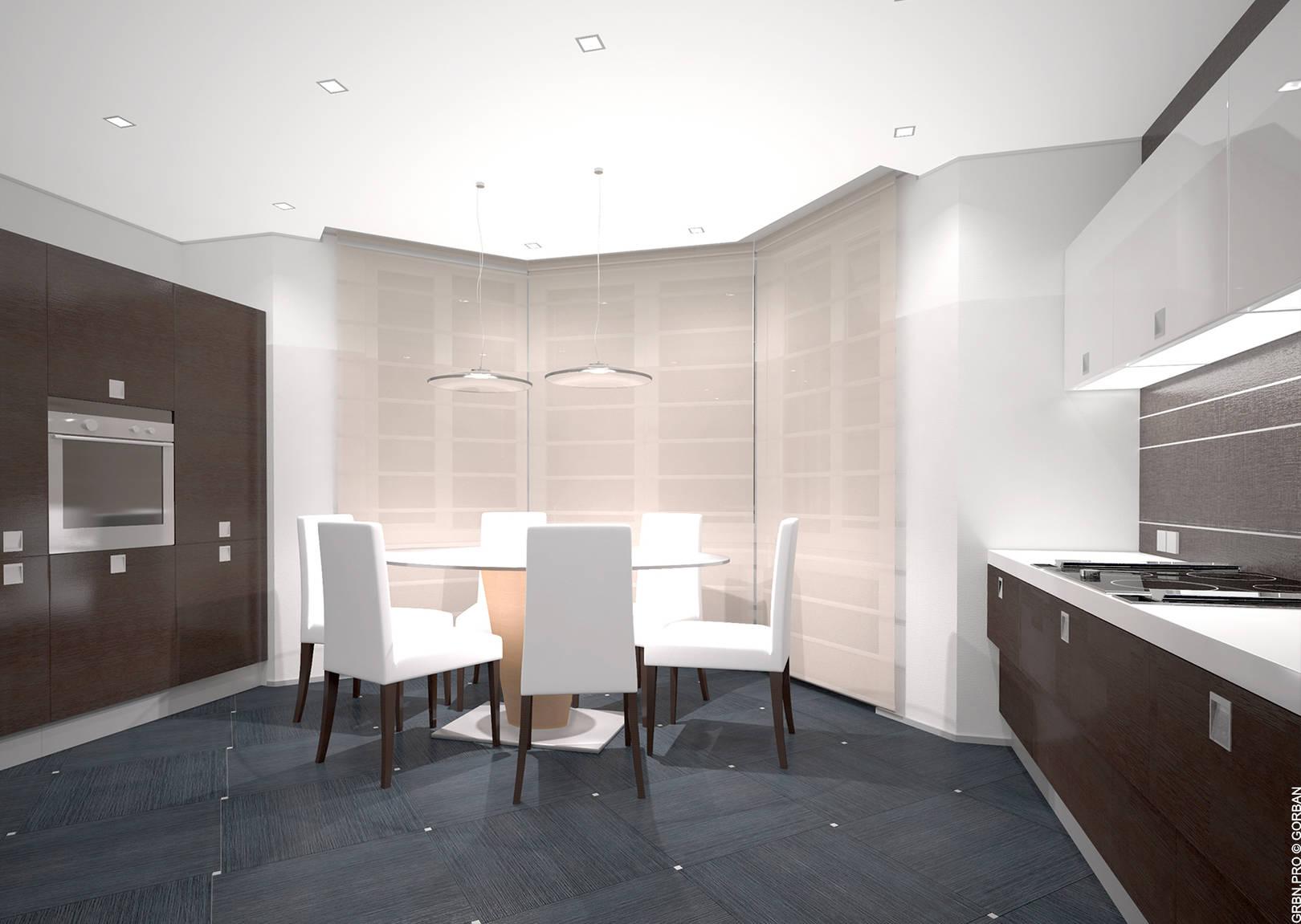 Проект интерьера квартиры. Кухня. 3D визуализация.