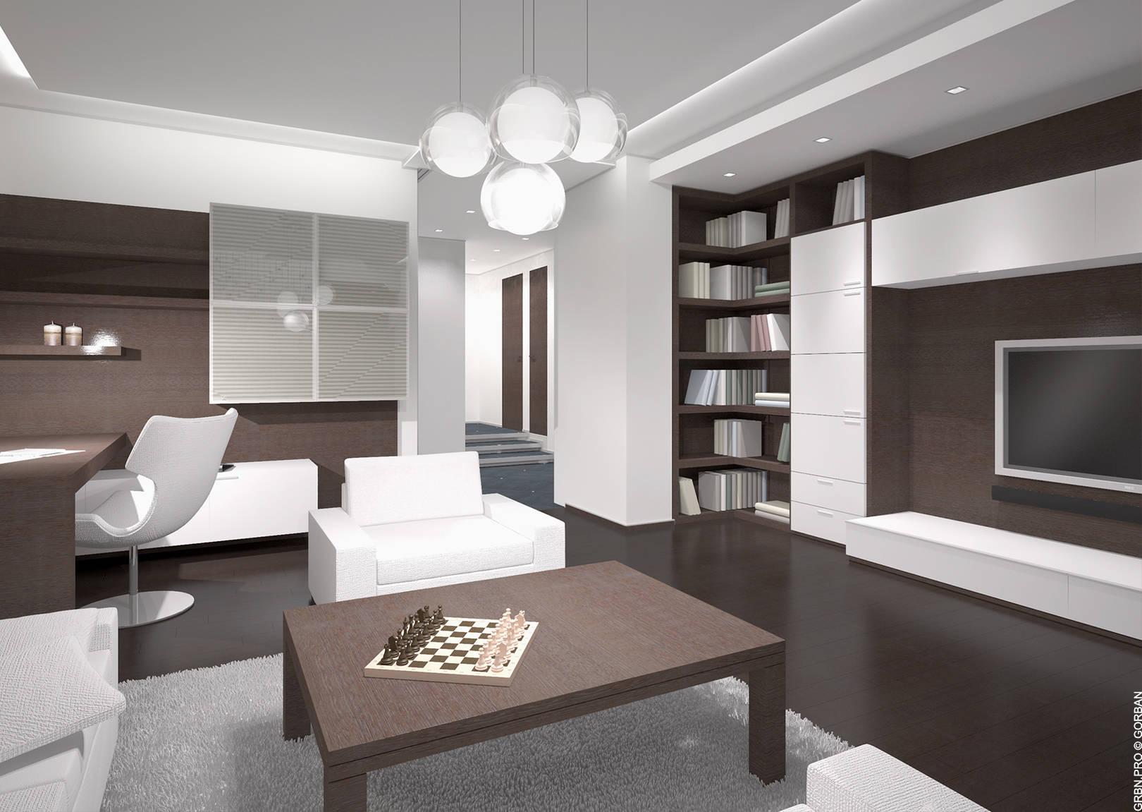 Проект интерьера квартиры. Гостиная. 3D визуализация.