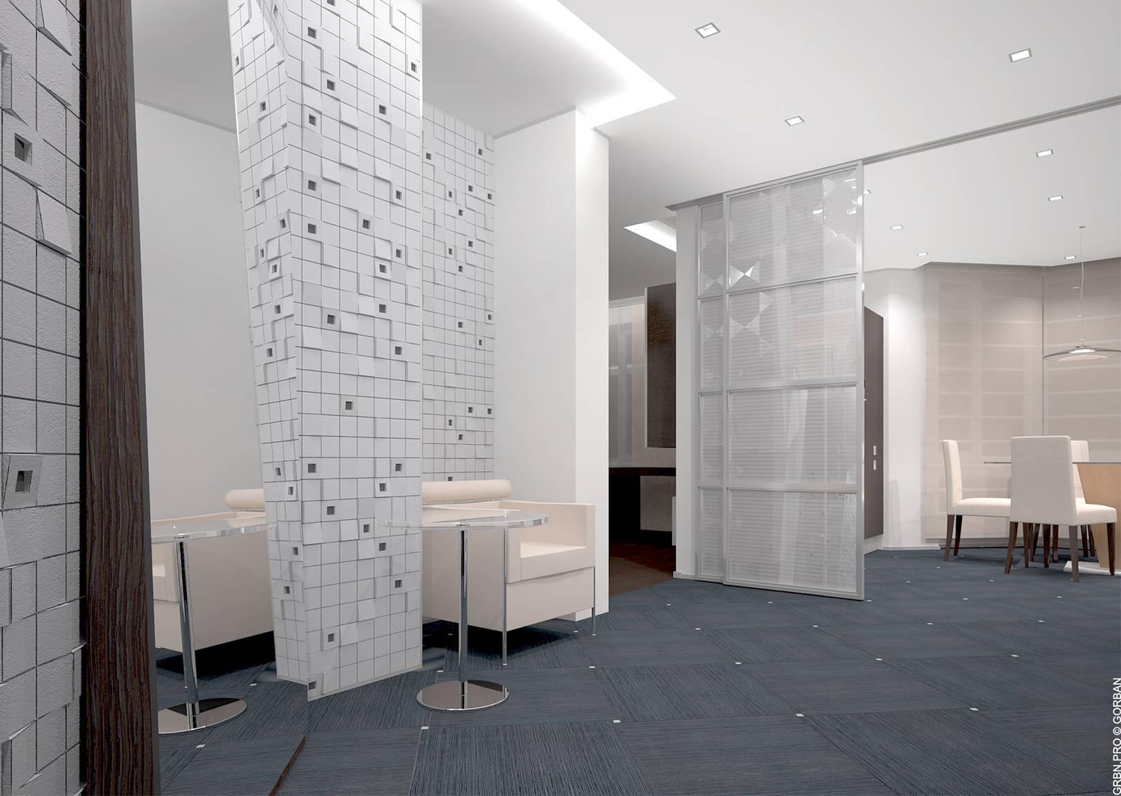 Проект интерьера квартиры. Прихожая. 3D визуализация.