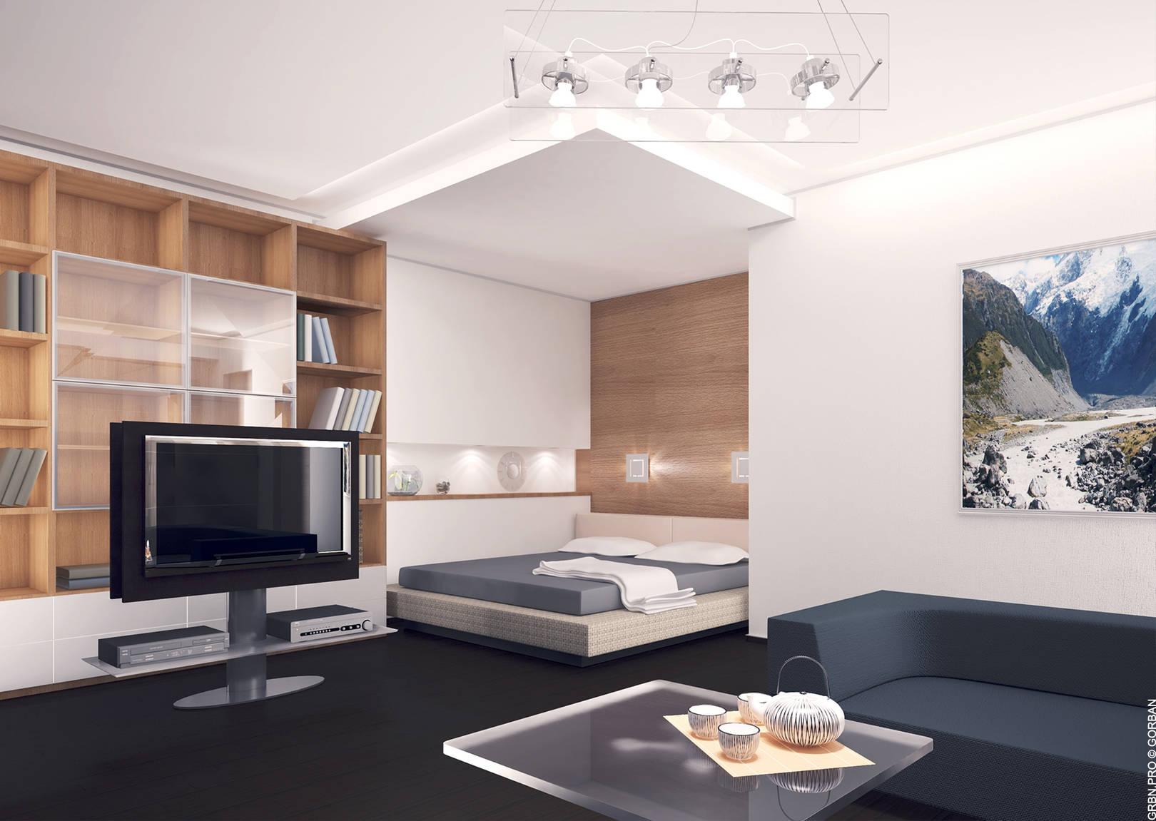 Проект интерьера квартиры. Кабинет. 3D визуализация.