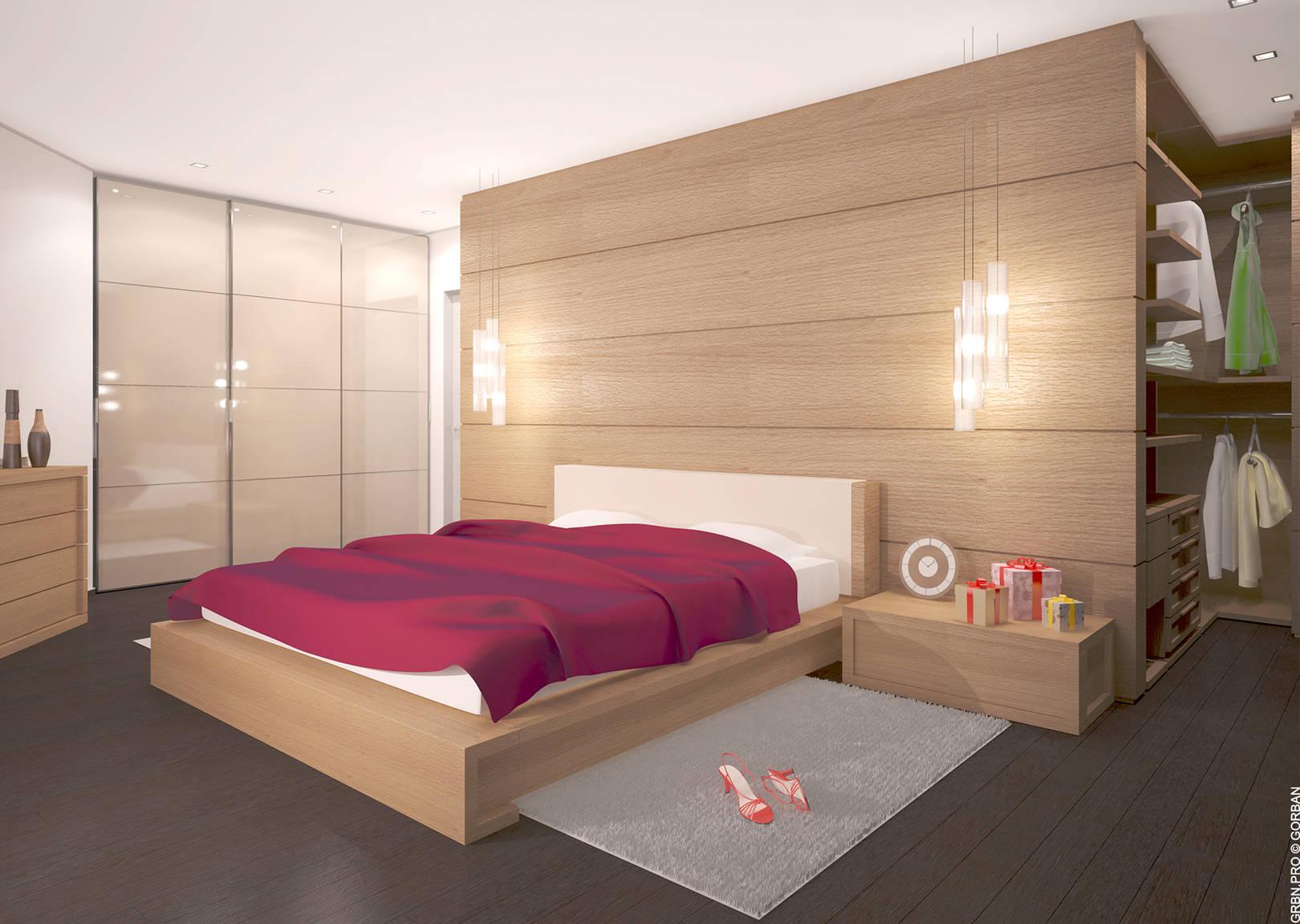 Проект интерьера квартиры. Спальня. 3D визуализация.