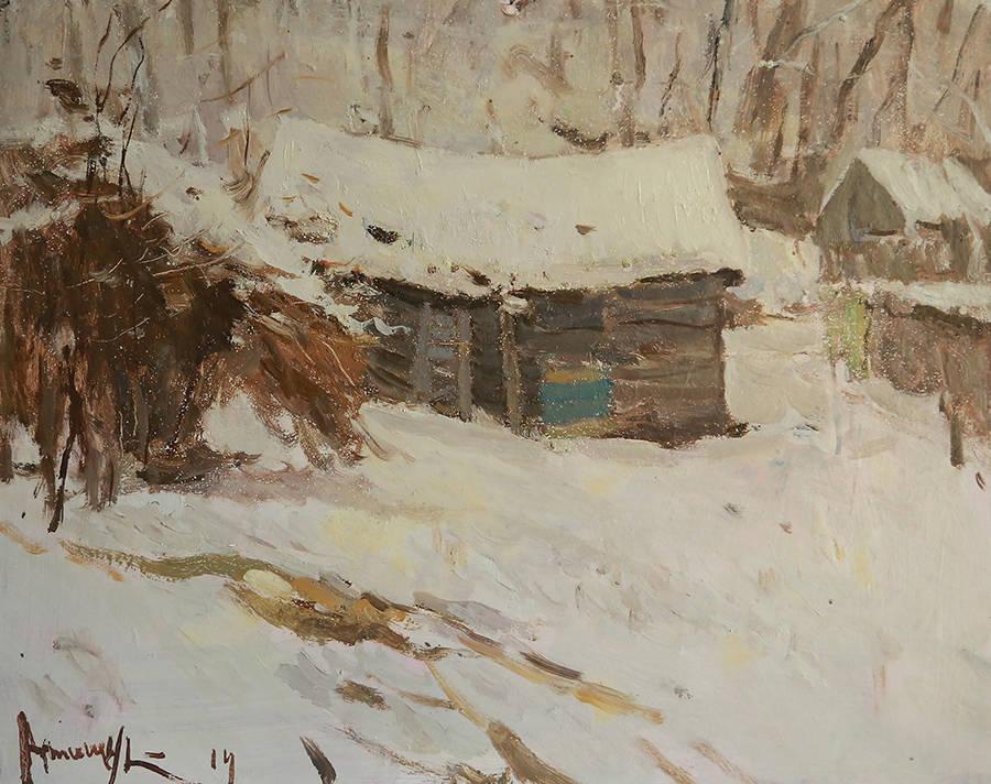 Зимний этюд с сараем