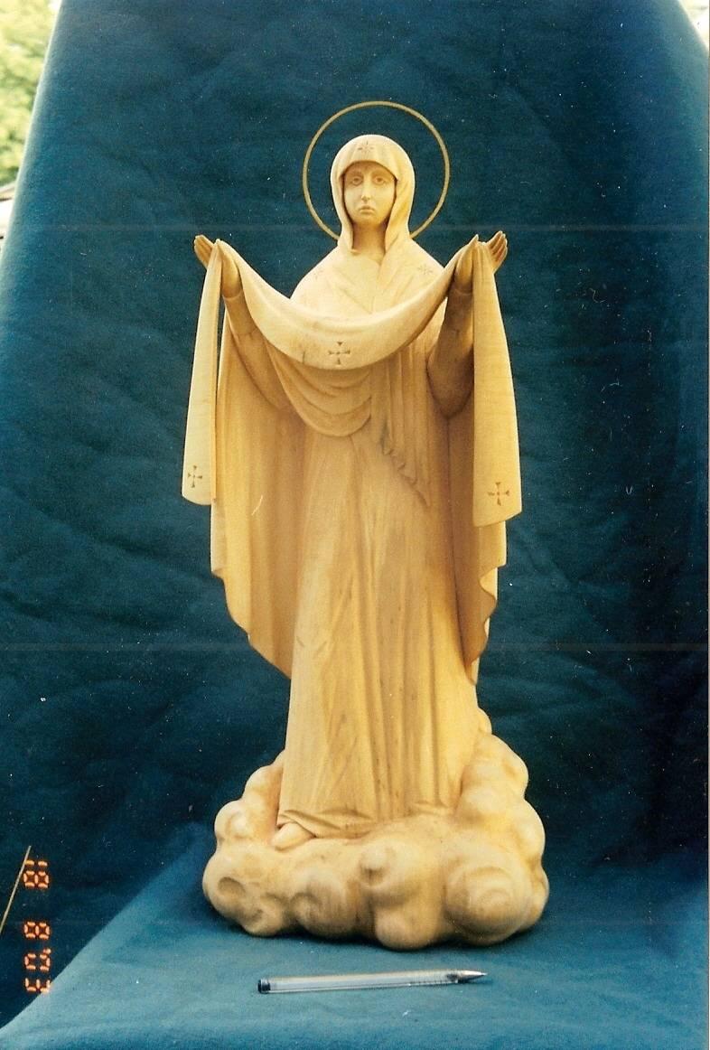 """""""Богородица с Покровом""""- символ нашего города. В.75см.Липа,металл,золочение."""