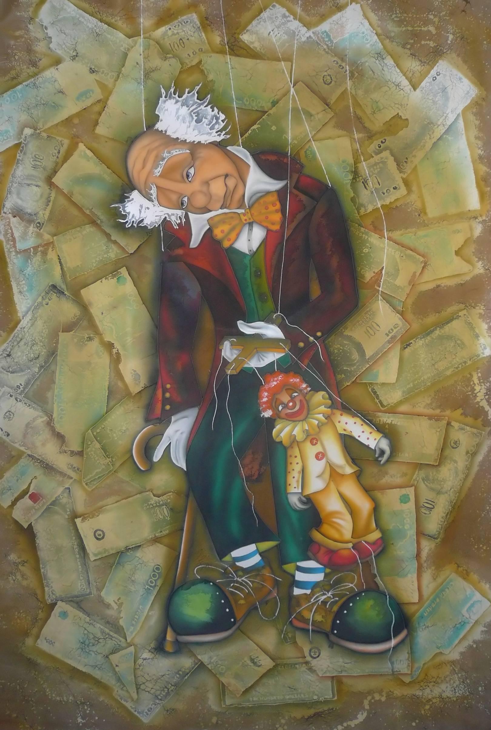 """Задумчивый клоун"" 2010г. 100/150 шелк, батик"