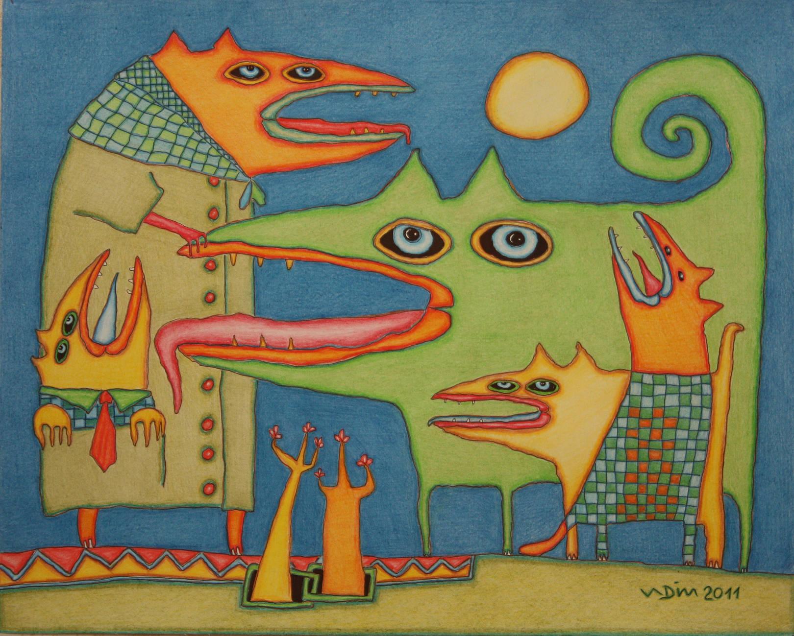 Зеленая собака 40х50 карандаш