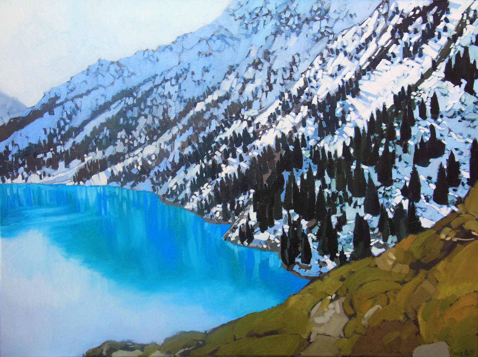 Большое Алматинское озеро, 60х80см., холст, масло, 2014
