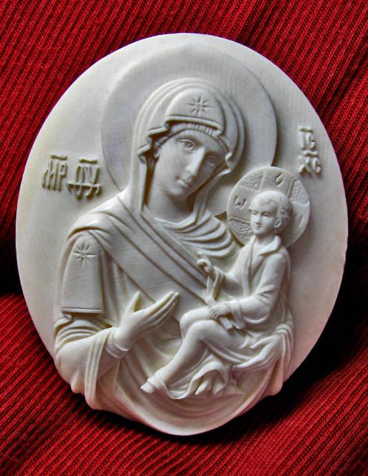 Тихвенская Богородица. Бибень мамонтаю 60 мм.