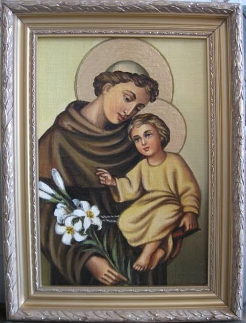 Св.Антоний с Иисусом (холст,масло)-художник Ядвига Сенько