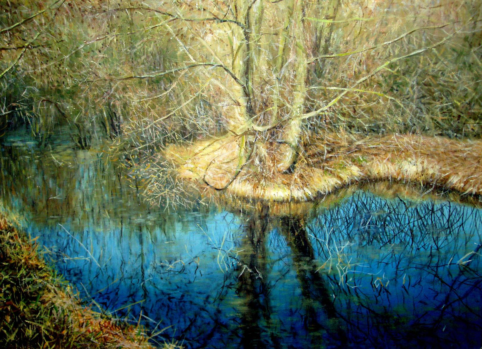 Синяя вода, холст, масло, 50х70