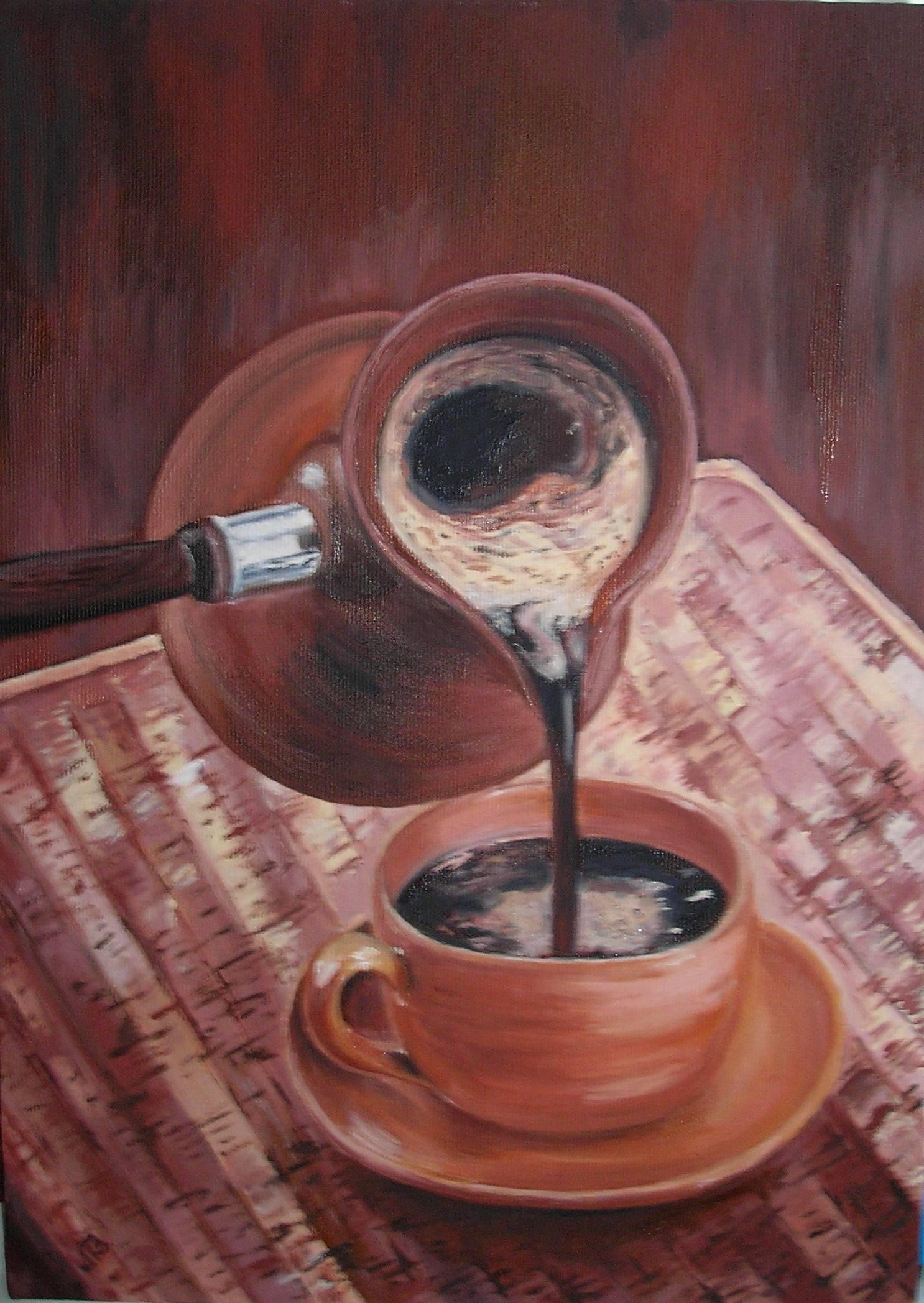 Утренний кофеMorning coffeeх/мoil on canvas25х35