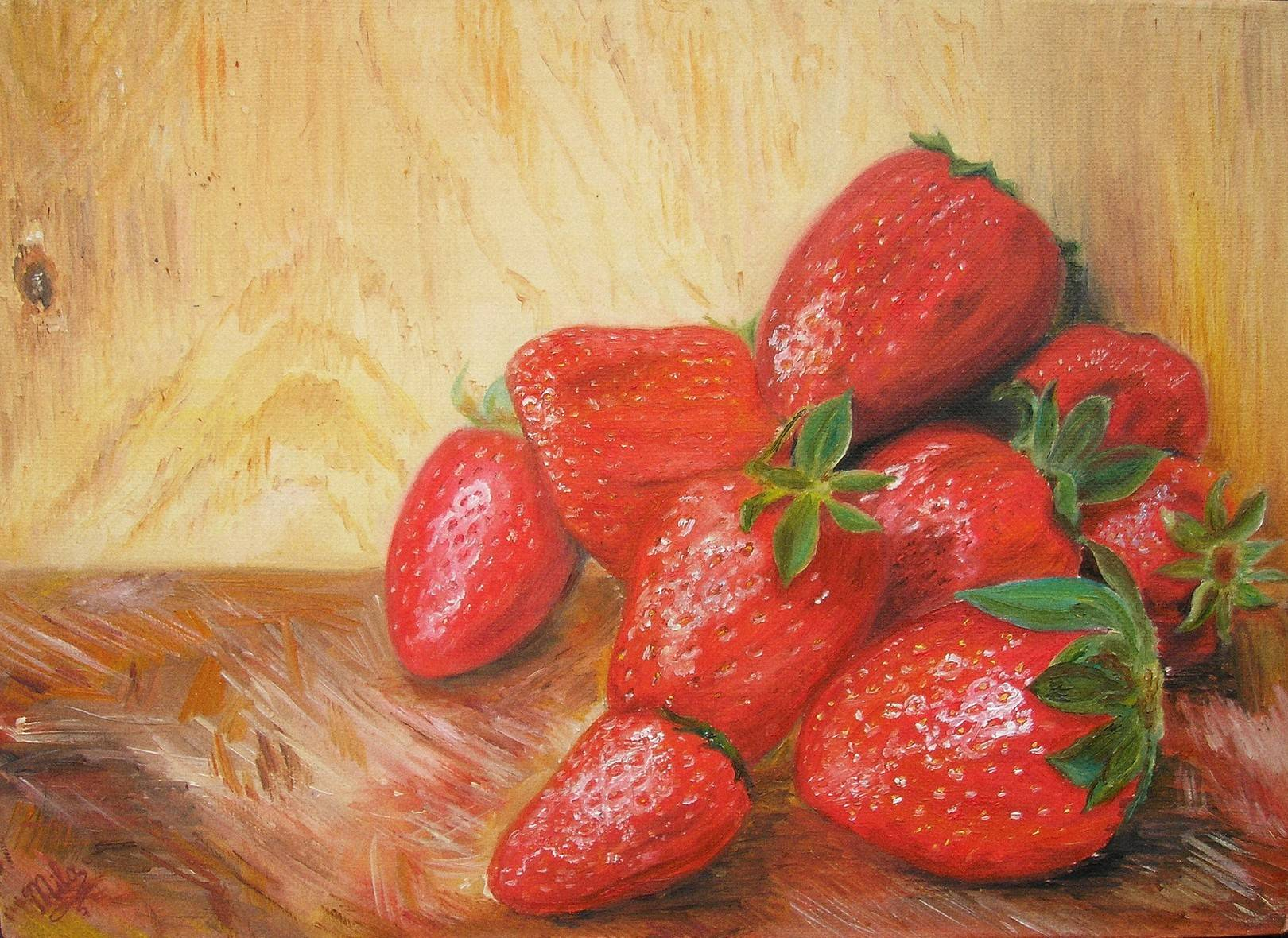 Аппетитные клубничкиDelicious strawberriesх/мoil on canvas25х35