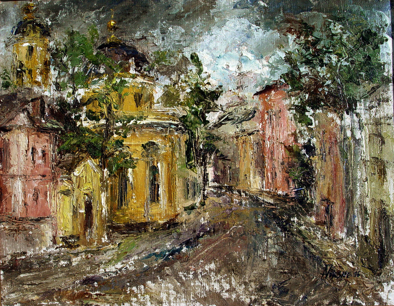 Alla Viksne,Moscow,Ordinka, oil on canvas,18x24,1997