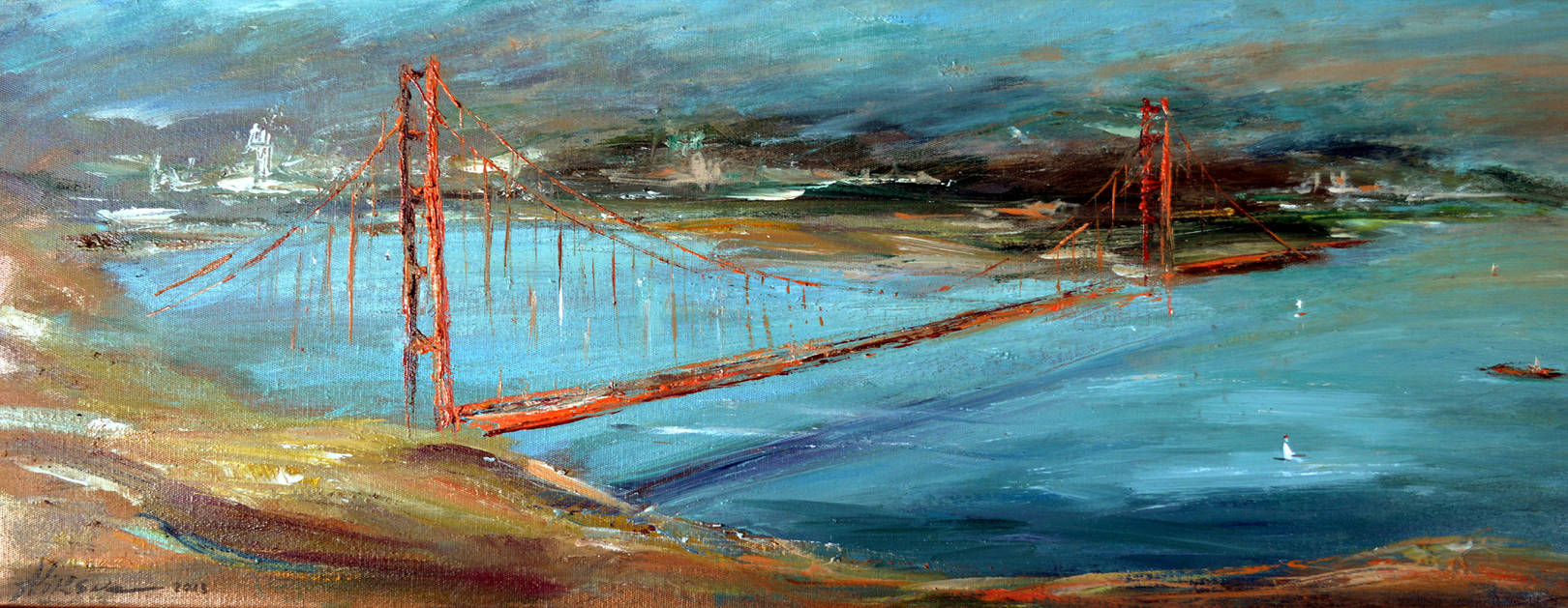 Alla Viksne ' Golden Gate Bridge' 2006- oil on canvas