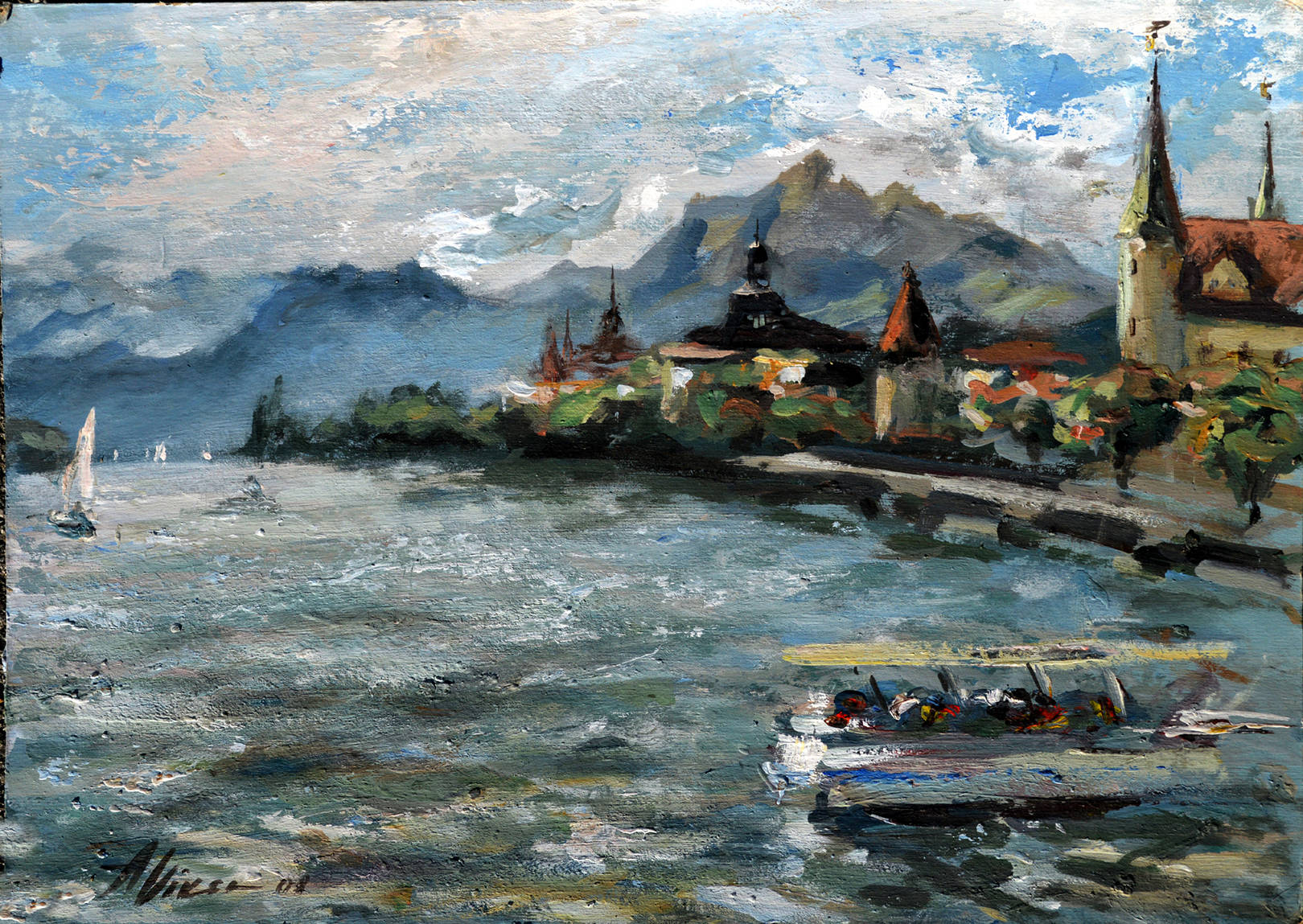 Alla Viksne ''Lucerne  Switzerland ''2007  acrylic on canvas  17x21''