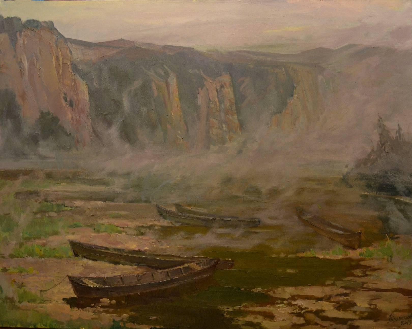 """Сиреневый туман"",2014 год, холст, масло, 90х70"