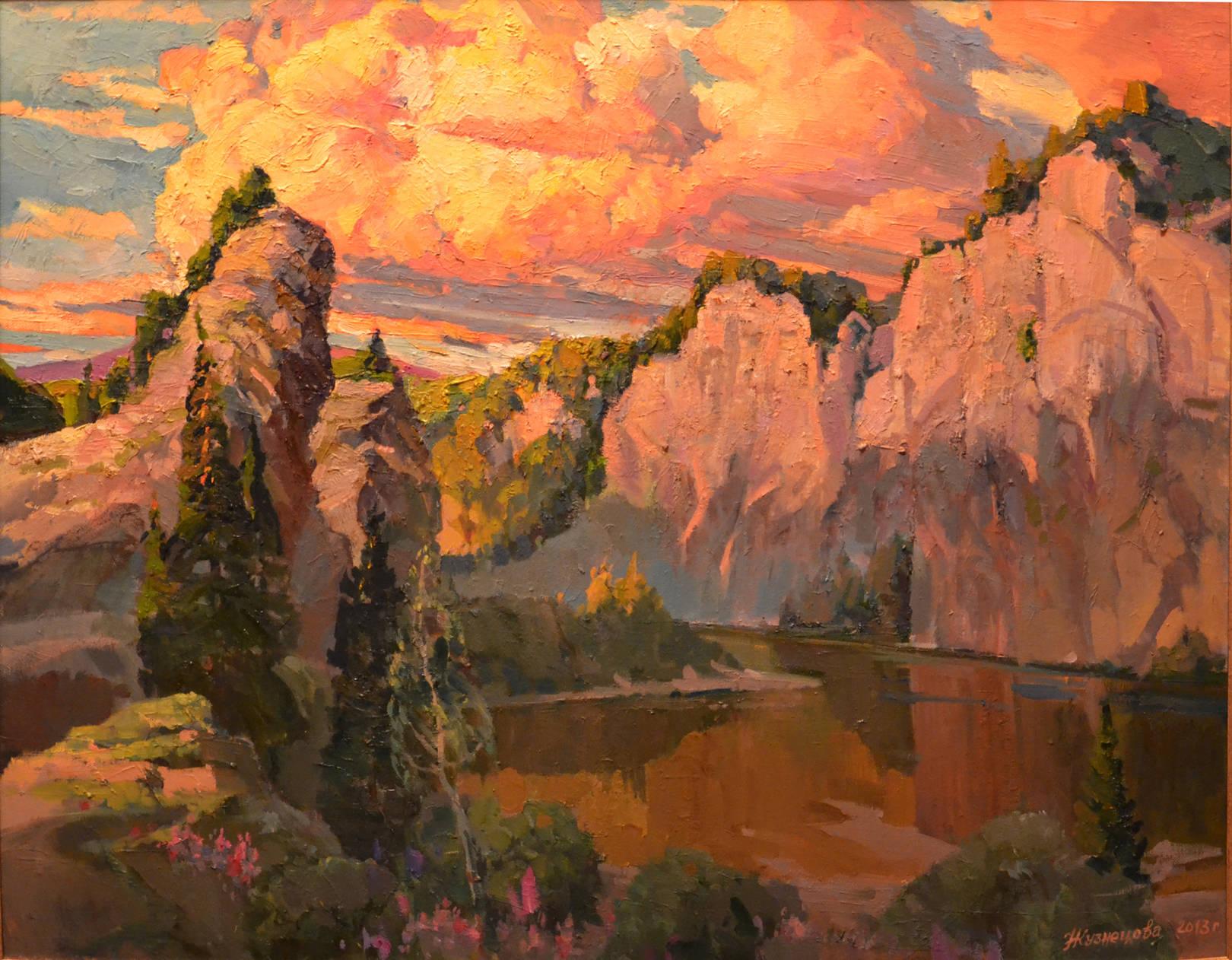 Чусовая. Теплый вечер, 2013 г.,х.м., 90х70