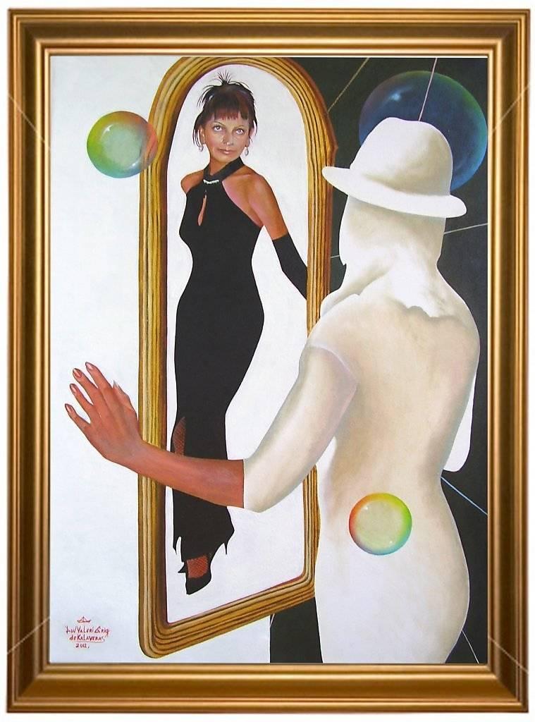 """""""Игра с зеркалом. Портрет Инги Горшковой."""" Жанровая картина. Холст, масло. Размеры в см: 75х50, Год создания: 2012. Постмодерн."""