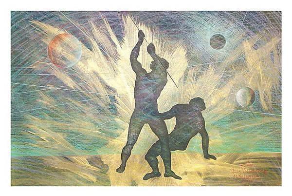 """""""Кайн и Авель"""" Жанровая картина. Бумага,цветные карандаши, размер: 34см х51см. 2004. Постмодерн."""