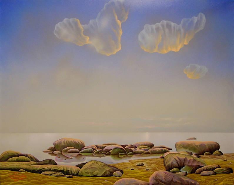 """""""Летнее утро в Эстонии"""" Пейзаж. Холст, масло, размер: 70см х 90см. 2008. Постмодерн."""