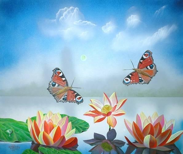 """Лотосы"" Жанровая картина. Холст, масло, размер: 115см х 150см. 2009. Постмодерн."