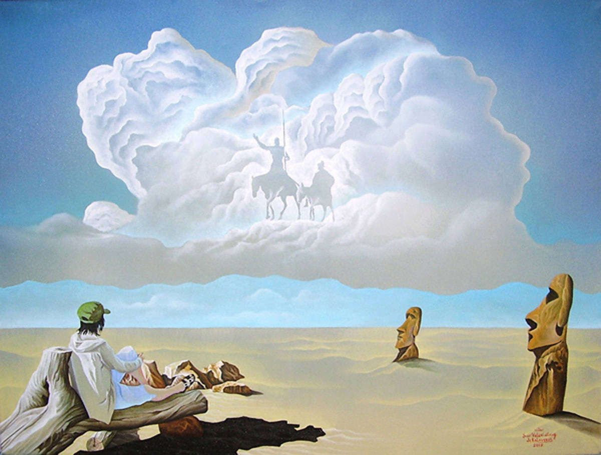 """Ожидание Дон Кихота"" Жанровая картина, холст, масло, размер: 60см х 80см. 2009. ПОСТМОДЕРН."