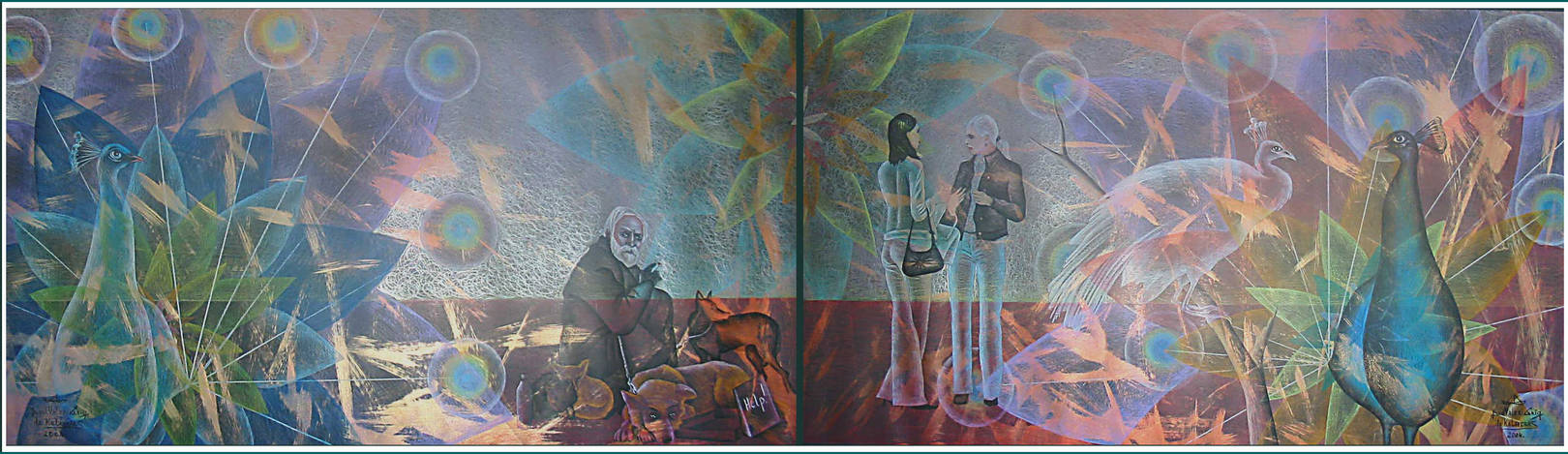 """""""Павлины"""" Жанровая картина.Конструкция из двух частей. Чёрная бумага,золотой и цветные карандаши, размер: 100см х300см. 2004. Постмодерн."""