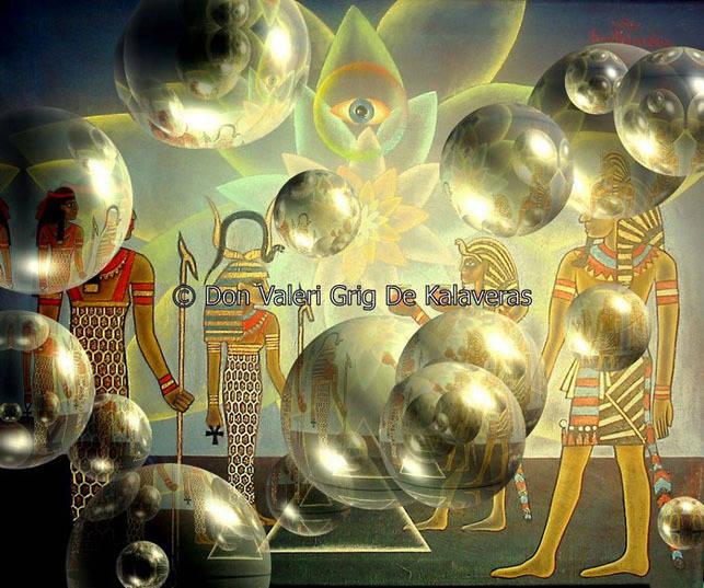 """""""Рождение пирамид"""" Жанровая картина. Холст, масло. Размеры в см: 64х75, Год создания: 2004 Постмодерн."""