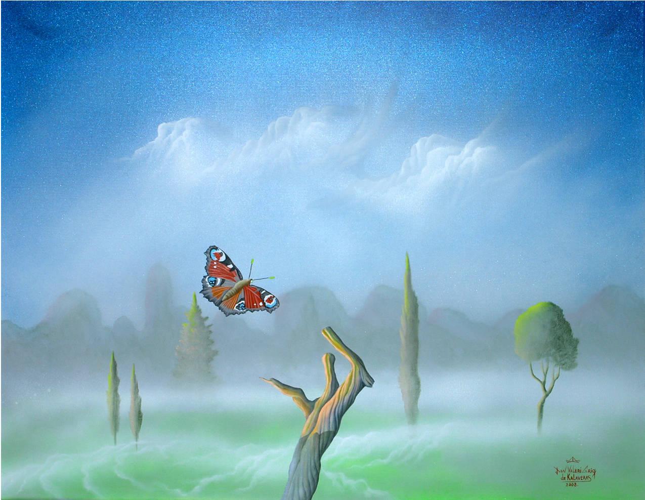 """Утренний туман. Из серии картин Эстонские туманы."" Пейзаж, холст, масло, размер: 60см х 80см. 2008. ПОСТМОДЕРН."