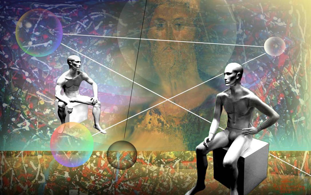 """Вечный диалог"" Жанровая картина. Холст, масло, размер: 138см х 86см. 2013. Постмодерн."