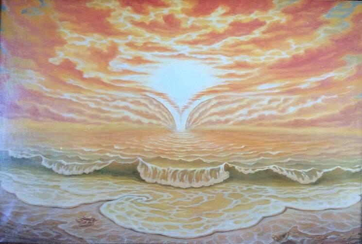"""Золото солнца"". 1 часть триптиха ""Образы моря"". Холст, масло. 1000х700"