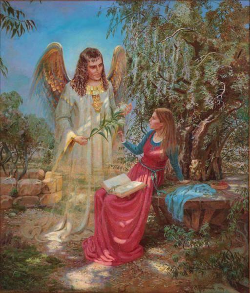 """(Евангелие от Луки,1:26-38) Архангел Гавриил является Деве Марии из Назарета и приносит ей Благую весть о том что она """" обрела благодать у Бога""""(Лука,1-30), и что ее сын наречется """"Сыном Божиим""""(Лука, 1-35)"""