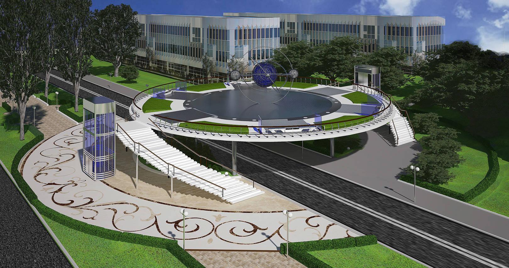 3 ds Max проект бульвару(пішохідний надземний перехід)