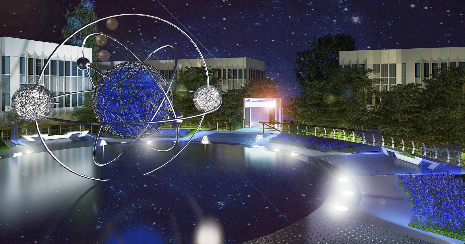 3ds max проект надземного переходу (вигляд увечері)