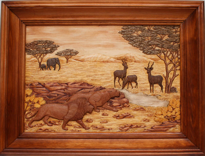 """Африка"". Резьба по дереву, тонировка. Материал: липа. Размер: 50*40 см."