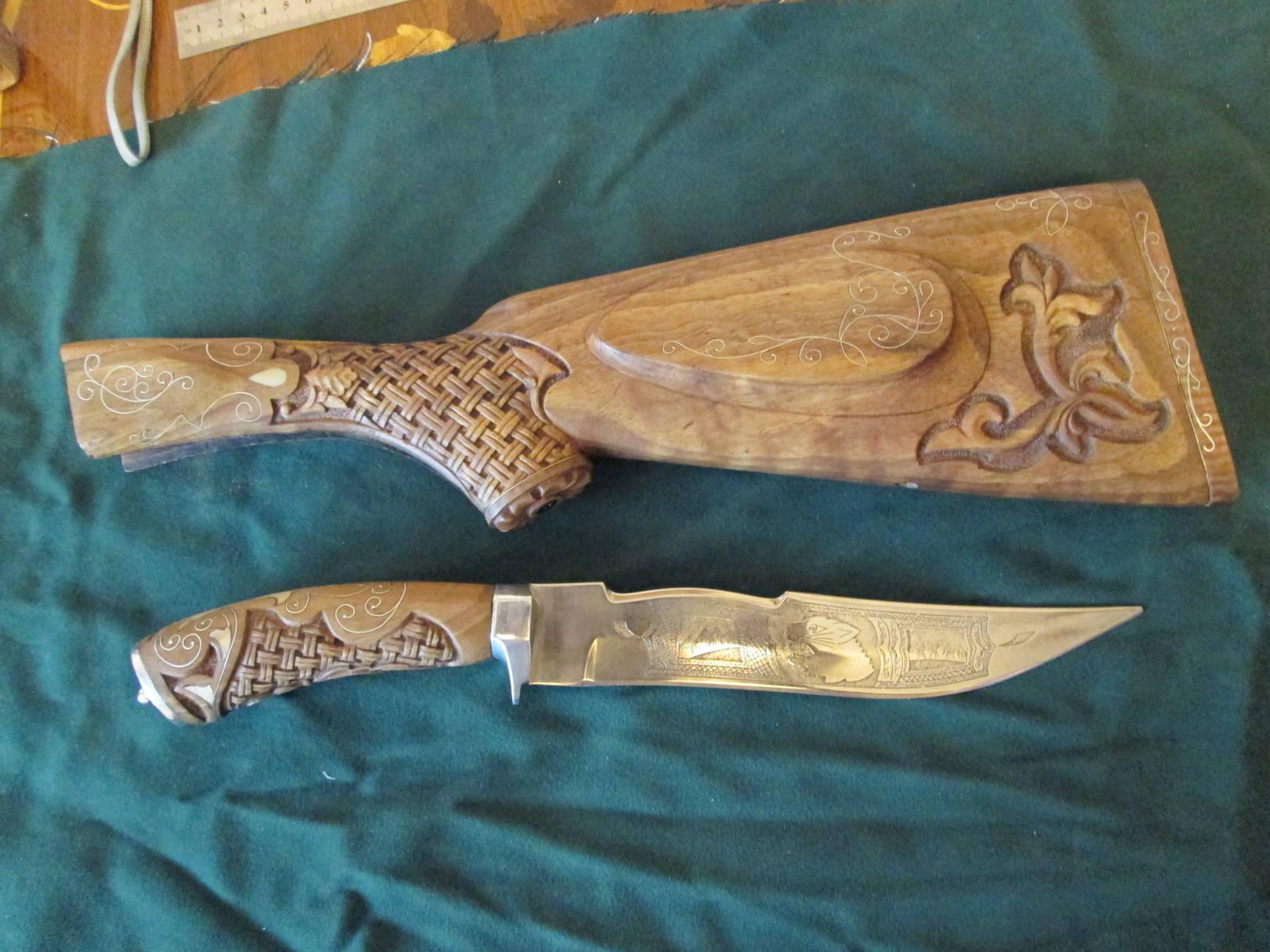 Приклад,Нож. Орех,Самшит,Серебро. Сталь.