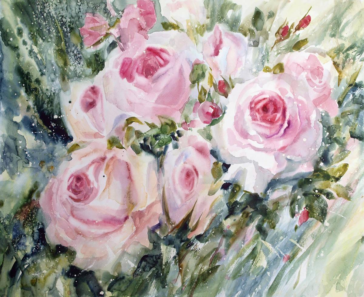 """Розовые георгины. Из серии """"Цветочная феерия"""". 2014. Бумага, акварель, 57х68"""