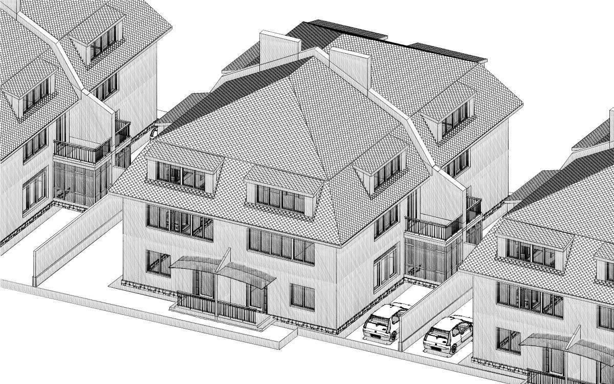 Линейная застройка (проект) здание на 4 семьи