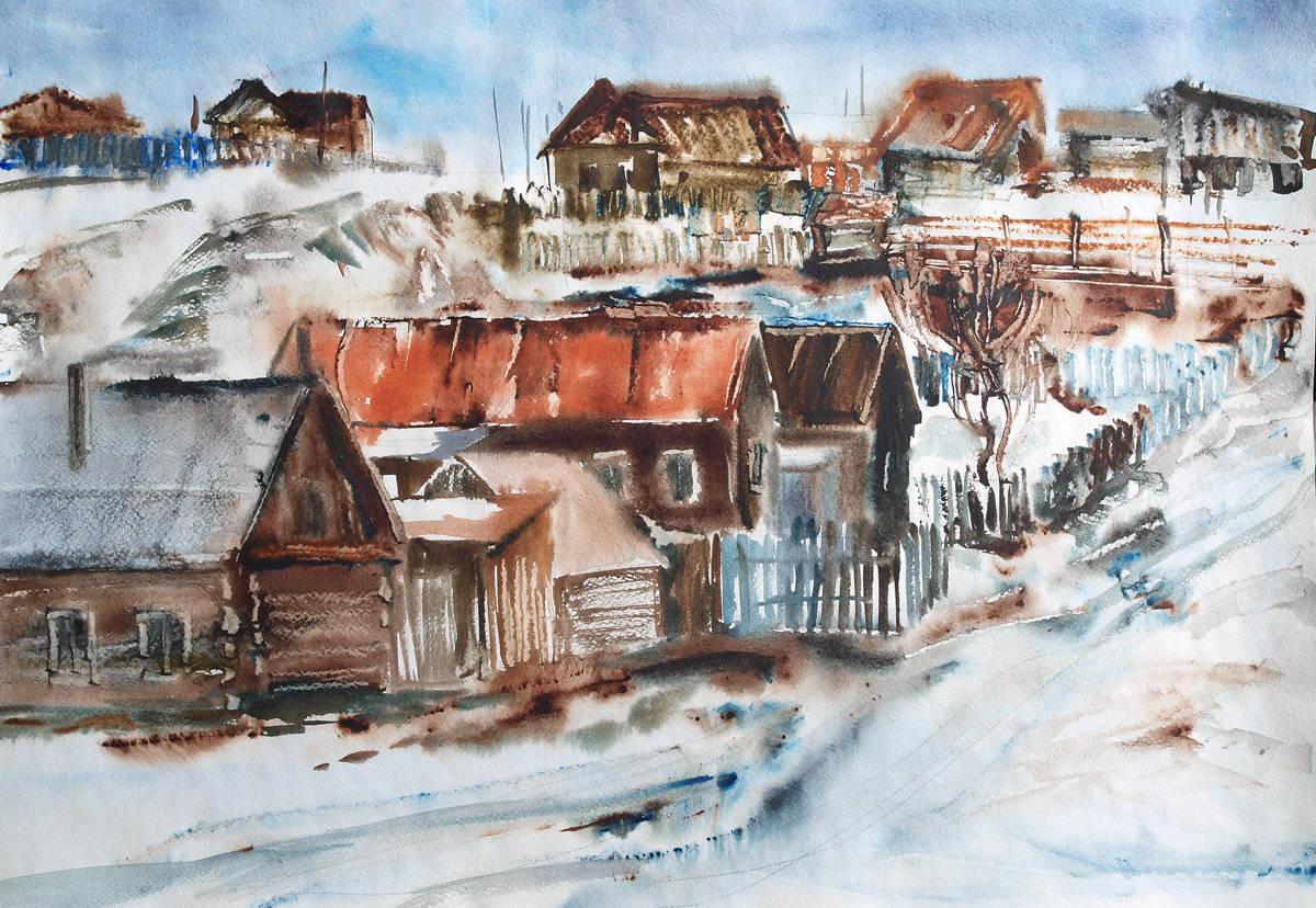 Уральская деревушка. Бумага, акварель, 40х60