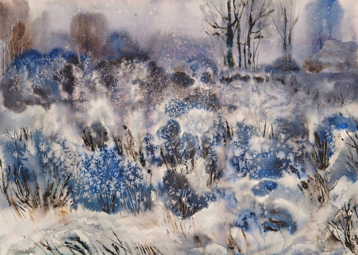 Зимняя фантазия.  Бумага, акварель, 40х59