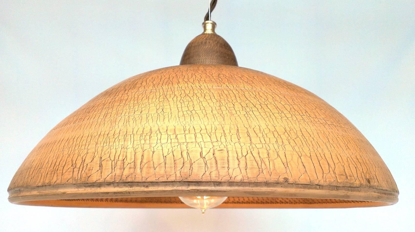 """Потолочная люстра с одним плафоном. """"Грибная поляна"""" Диаметр 35 см. Глина, гончарный круг. Фактура поверхности- специально растресканая. Отделка- резьба на внутренней поверхности, молочение, воск."""