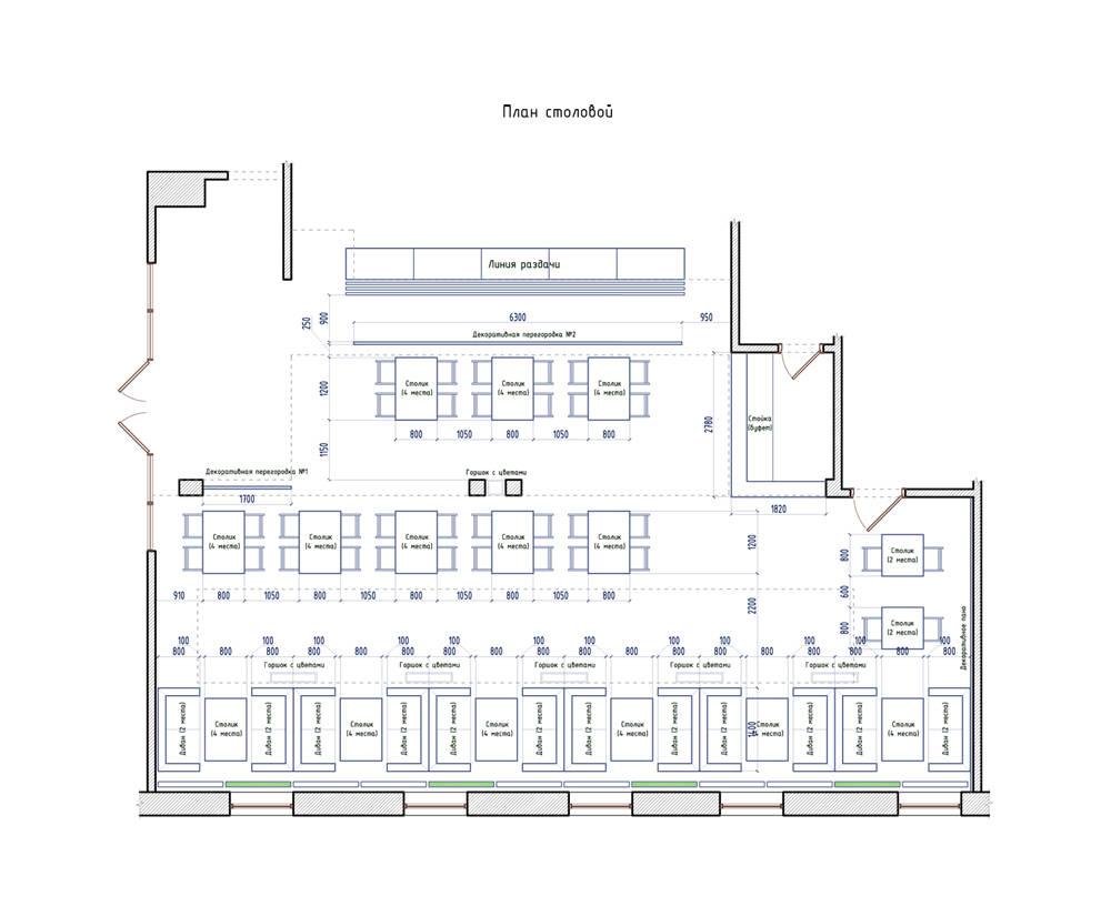 План столовой на 60 посадочных мест