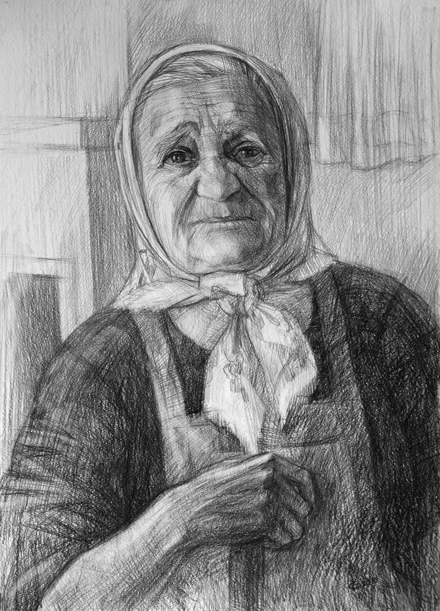 Баба Маша. Бумага, карандаш, 58х40