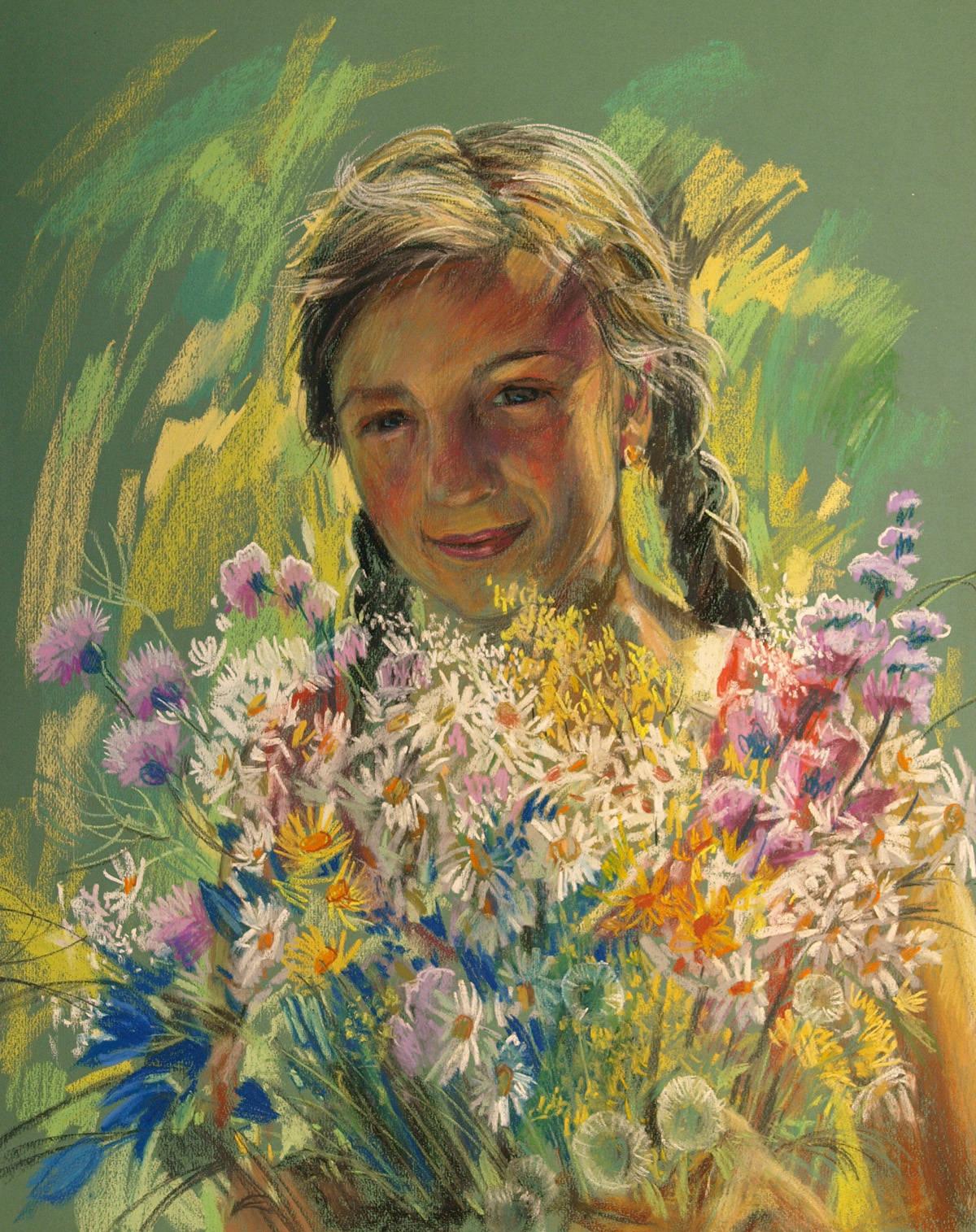 Ах, лето! Портрет дочери. Бумага, пастель, 65х50