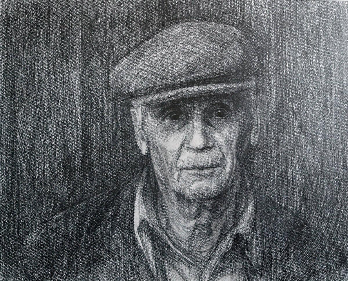 Дядя Лёня. Бумага, карандаш. 40х50