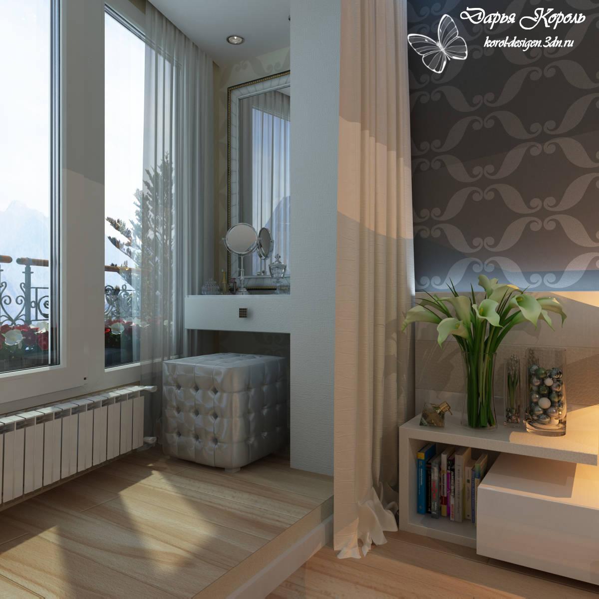 Фото дизайна соедененых балконов со спальней.