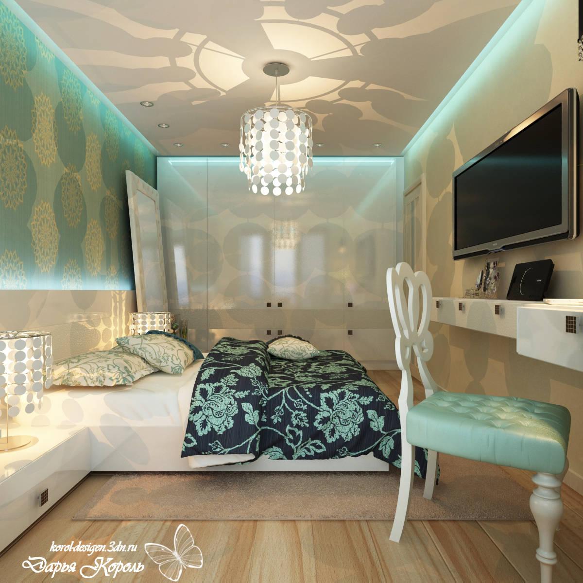Спальня с бирюзой